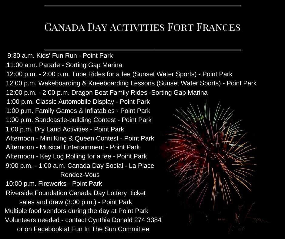 Town of Fort Frances Canada Day schedule of events